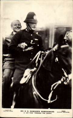 (Ephemera) Harry Hawker's Homecoming being carried on the back of a mounted police horse following his 1919, attempted non-stop Atlantic crossing. An unused original guaranteed real B&W photo PPC.