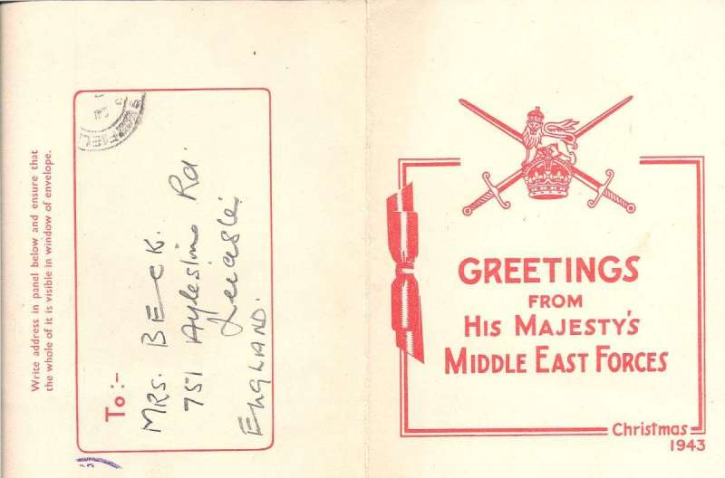 """(Ephemera) Middle East Forces Cristmas Card 1943, red/cream card """"Greetings from His Majesty's Middle East Forces/ Christmas 1943"""", sent in window envelope postmarked Field  POst Office/S6 ***, ms 'On Active Service', vilet 'Passed by Censor/No 4170'. The British Middle East Command, which controlled Allied forces in both Southwest Asia and eastern North Africa. From 1943, most of the action and forces concerned were in the adjoining Mediterranean Theatre."""