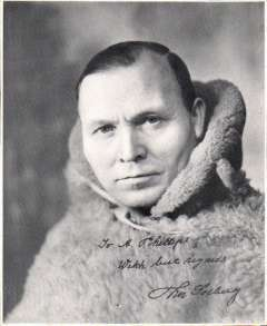 (Ephemera) Thor Solberg, the arctic explorer, flew a single engine amphibian plane from New York to Denmark in easy stages during August and September of 1935 to prove the navigational ability of aircraft in the Arctic. Signed original head and shoulders B&W photograph, 13x11cm, inscribed ' To A. Phillips (the specialist airmail dealer), With best regards, Thor Solberg'.