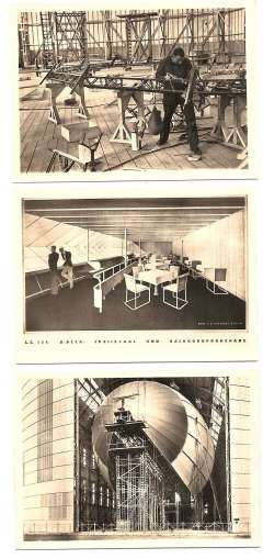 (Ephemera) Hindenburg, a complete souvenir set of 12 showing various stages in the construction of  the LZ 129, half size photo cards, .5x2.5 inches, each card numbered. Scarce.
