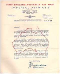 (Ephemera) Imperial Airways, souvenir headed red/blue/cream notepaper, black/cream notepaper with red outline of map of Australia, and addressed Airways House, Lower Regent Street, London, printed a souvenir of the inauguration of the first Air Mail service from England to Australia. A scarce unused item in pristine condition.