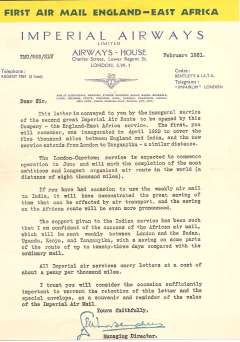 (Ephemera) A letter written on Imperial Airways headed blue/cream/yellow notepaper and signed by the Managing Director, dated February 1931, sent by the first flight of the England-East Africa air sevice as a souvenir of its inauguration.