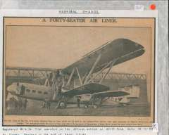 (Ephemera) Original newspaper picture, 17x23cm, with text, showing the new forty-seater Handley Page air liner Hannibal G-AAGX, on the tarmac undergoing its first trials at Radlett Aerodrome, near London. A Gypsy Moth is shown alongside for comparison.