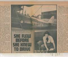"""(Ephemera) Mrs Harry Bonney, original 2000 word article from the Sunday Mail Color Magazine, 1973, about the exploits of Mrs Bonney, including a picture of her ready for take off in her VH-UPV a De Havilland DH-60G Gipsy Moth named """"My Little Ship"""", and checking maps at Archerfield Aerodrome before her 1937 flight to South Africa. There is even toning all over. In the centre of the lower half there is a narrow vertical strip of deeper toning. The lot also contains a photocopy of details taken from the log book of Mrs Bonney's Australia-South Africa Flight 1937 listing the places of arrival and departure, and flight times, for each of the 60, or so legs of this flight."""