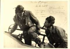 (Ephemera) Clouston and Ricketts in the cockpit of DH.88 Comet, unused B&W PPC with signatures of both pilots and reference to their 1938 London-Australia-New Zealand-London flight. Signatures are  likely to have been on the original from which this PPC was reproduced.