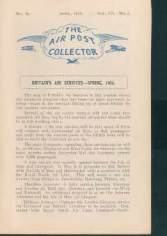 (Ephemera) The Airpost Collector, April 1935, official journal of the Airmail Society, Vice President Sir Alan Cobham, 18pp, A5, articles include GB Overprints on Scadta stamps, values and numbers issue, Rocket Post stamps of the world (5p).