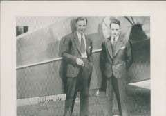 (Ephemera) Count Alfred de Monteverde and Marquis George de Monteverdi in civilian clothes standing by a plane '****ceso'.  A B&W print, 12x 10cm, of an earlier photo bearing both their signatures.