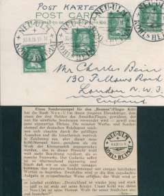 (Ephemera) Special postmark honouring the aviator Kohl tying four German stamps on PC (likely unflown) from Germany to England. On April 12, 1928 Kohl, Hunefeld and Fitzmaurice, left Baldonnel in the Bremen and crossed the Atlantic Ocean, landing at Greenly Island on the south coast of Labrador, Canada. Even though they missed their intended destination, New York, they were the first to cross the Atlantic from Europe to America. Also an explanatory magazine cutting in German.