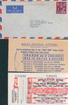 (Malta) Airmail envelope England, no arrival ds, franked 4d, canc Gzira cds, containg ten unused application forms for the 78th Malta Government Lottery, and an explanatory leaflet.