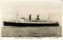 (Ephemera) SS Duchess of Richmond, original B&W PPC, used 5/6/31, transatlantic passenger liner, built 1928, requistioned as a troop carrier 1940, re-entered peacetime service 12th July 1947 as the Empress of Canada.