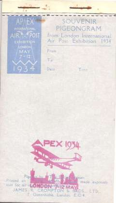 (GB Internal) Apex Airpost Exhibition 1934, Pigeongram, complete pad with red cachet, unused.