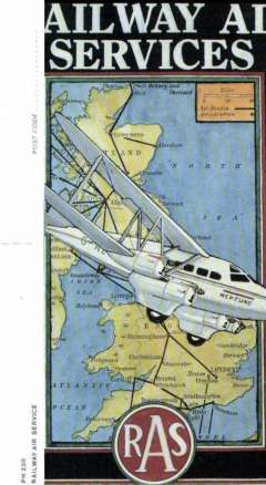 (Ephemera) Railway Air Service, Richard Blake blue/black/yellow PPC showing picture of DH 'Neptune' in flight over RAS routes and aerodromes.