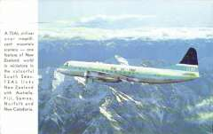 (Ephemera) TEAL Jet Prop in full livery flying over mountain scenery in New Zealand, attractive colour PPC, used.