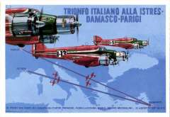 (Ephemera) Three three-engined Savoia-Marchetti SM79 planes in flight, in red livery  the colour of Italy in international racing car competitions. A multcoloured PPC commemorating victory in the Istres - Damascus - Le Bourget air race, October 1936.