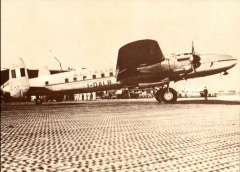 (Ephemera) I-DALR  Avro 691 Lancastrian, a rare sepia photocard of one of the five Lancastrians operated by Alitalia on their flights to South America from 1947.  The flight from Milan-Rome-Dakar-Natal-Rio deJaneiro-Sao Paulo and Buenos Aires took 36 hours.