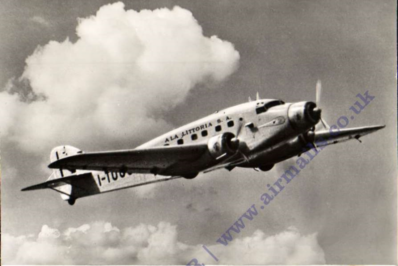 (Ephemera) Ala Littoria, Trimotor Savoia Marchetti S/75 in flight, B&W photocard, unused.