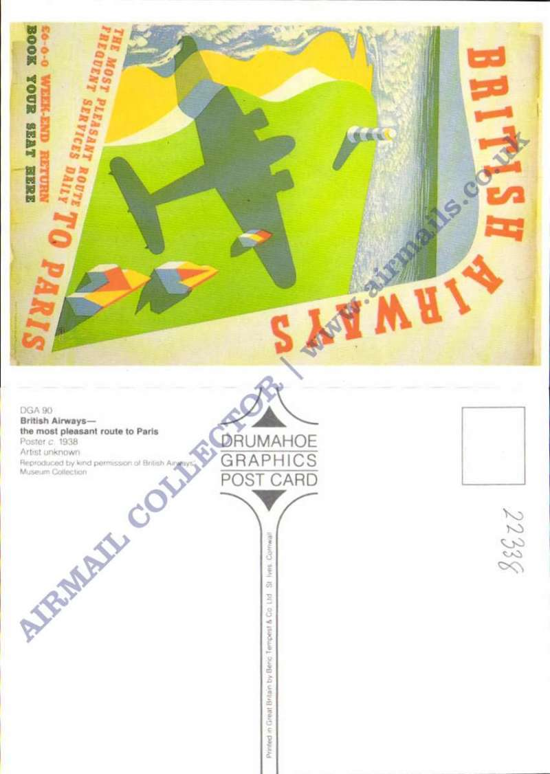 (Ephemera) British Airways, 'The Most Pleasant Route to Paris', red/green/yellow/grey  poster card, unused