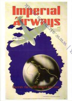 (Ephemera) Imperial Airways 'Operate the Longest Routes', red/blue/grey purple with global routes map repro photocard.