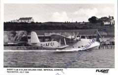 (Ephemera) Imperial Airways Short S26 G-Class Golden Hind flying boat moored at Rochester Harbour, July 1939, original B&W 'Flight'. photocard in superb condition.