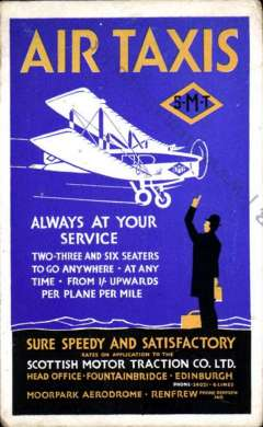 """(Ephemera) A rare Air Taxis (SMT) blue/yellow/black/white promotion card (9x14cm) advertising """"Air Taxis/Always at You service/ Two-Three and Six Seaters to Go Anywhere ................From 1/- Upwards Per Plane Per Mile..."""". The service was run by the Scottish Motor Traction Co. Ltd (SMT). SMT which was founded in 1905, and operated bus services in much of central Scotland. Aside from its traditional bus operations    it also ran an air taxi service between July 18 and October 31, 1932  with a De Havilland Fox Moth before being merged into the precursors of Railway Air Services and finally BEA. A truly scarce item in fine condition."""