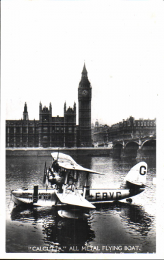 (Ephemera) City of Alexandria, G-EBVG, Short Calcutta C class flying boat, moored on the Thames with Houses of Parliament in the background. Original BOAC B&W photograph, 14x9cm, unused.