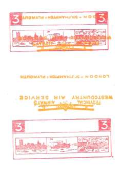 (Ephemera) Great Britain, 1933, Nov 23, Provincial Airways Ltd, orange and red proof on white card, with plane inverted.