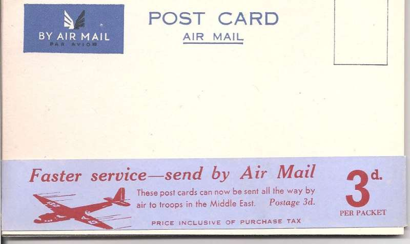 (Ephemera) WWII airmail cards isued to troops serving in the Middle East for returning 'All The Way By Air'. Ten unused cards in the original wrapper. Cards are scarce individually, but rare in this fomat.