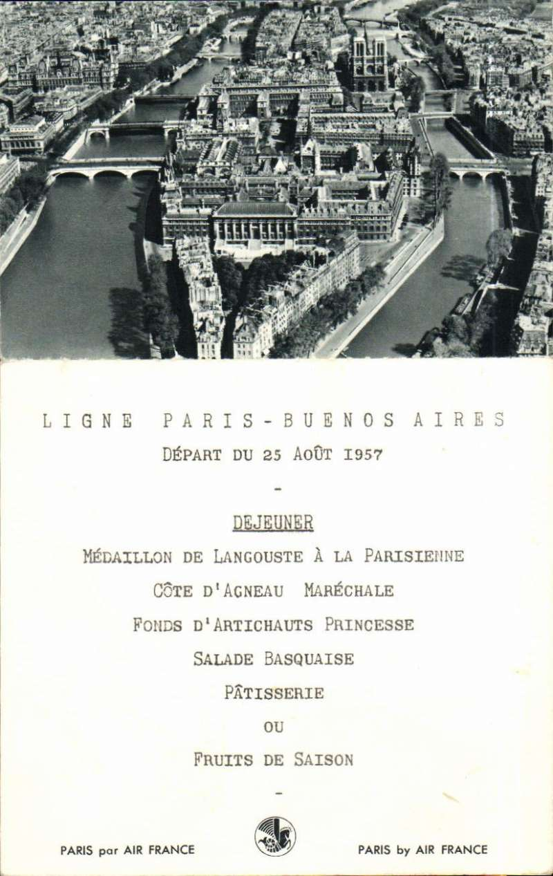 (Ephemera) Air France Ligne Paris-Buenos Aires,depart  25 August 1957, Dinner Menu and B&W PPC.