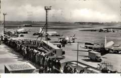 (Ephemera) London Airport central area showing BEA planes lined up on tarmac, B&W PPC photocard, c1956.