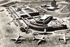 (Ephemera) London Airport, Passenger Building, Queens Building, and Control Tower taken from BEA helicopter, c1955, PPC photocard..