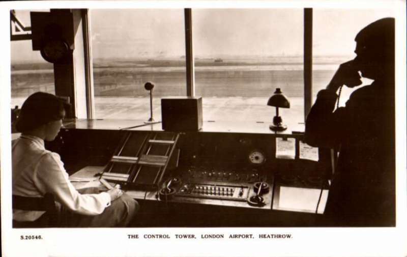 (Ephemera) London Airport Heathrow, Control Tower, B&W PPC photocard, c1950.