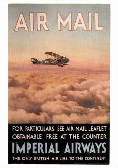 (Ephemera) Imperial Airways poster advertising the early airmail service to Europe, reproduction colour PPC.