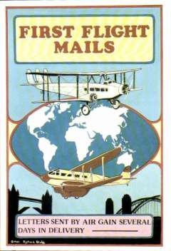 """(Ephemera) First Flight Mails, reproduction PPC advertising """"Letters sent by air gain several days in delivery"""". Original c1935."""