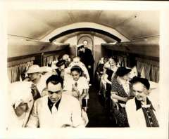 (Ephemera) Sikorsky S-43, passengers seated in cabin during flight. Original sepia photograph, 10x8cm, c1936. The S-43 was used primarily by Pan American World Airways for flights to Cuba and within Latin America.