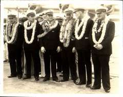 (Ephemera) Sikorsky S-42 survey flight to Hawaii 1935, crew arrival in Hawaii, left to right, Radio Officer W.T. Jarboe Jr., Junior Officer Harry R. Canaday, First Officer R.O.D. Sullivan, Captain Edwin C. Musick, Navigator Fred J. Noonan, Engineer Officer Victor A. Wright. B&W photograph made from the original negative, 12x9cm.