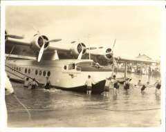 (Ephemera) Sikorsky S-42 survey flight to Hawaii 1935,  S-42 moored at Ford Island. B&Wphotograph made from the original negative, 12x9cm.
