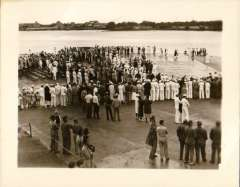 (Ephemera) Sikorsky S-42 survey flight to Hawaii 1935, crowd awaiting arrival at Pearl Harbour. B&Wphotograph made from the original negative, 12x9cm.