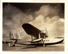 """(Ephemera) Pan American Airways System Sikorsky S-42 NC-823M on the tarmac, original B&W photograph made from the original negative, 12x10cm.  Delivered to Pan American in 1934 and  named """"West Indies Clipper"""", then renamed """"Pan American Clipper""""' then renamed  """"Hong Kong Clipper"""". First used on Latin American, then on Transpacific & Transatlantic routes."""