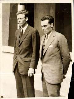 (Ephemera) Lidbergh and John Hambleton , Vice President of Pan Am, standing side by side in civvies, at the time of their flight together, on February 1929, on the inaugural flight from Miami to Panama, thus instituting the first airmail service between the US and Central America. An original International Newsreel photograph, 20x15cm. Some non invasive damage to lower rh edge, and a well off centre scratch on Hambleton's jacket - but a rare and historic photo not withstanding. See scan.