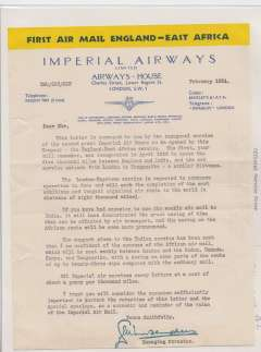 (Ephemera) An original letter from Imperial Airways House, Regent Street, London, written on Imperial Airways headed blue/cream/yellow notepaper and signed by the Managing Director, dated February 1931, sent as a souvenir of its inauguration the inauguration of the  England-East Africa air sevice.