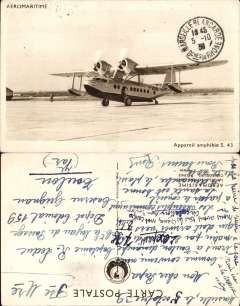 (Ephemera) Union Aeromaritme Sikorsky S 43 F-ADUK on the tamac, original company sepia PPC, used 5/10/1938, condition fine..The company was established in 1935 by the Chargeurs Rיunis after the collapse of Aeropostale. The S43 was used to develop the Dakar-Pointe Noire service.