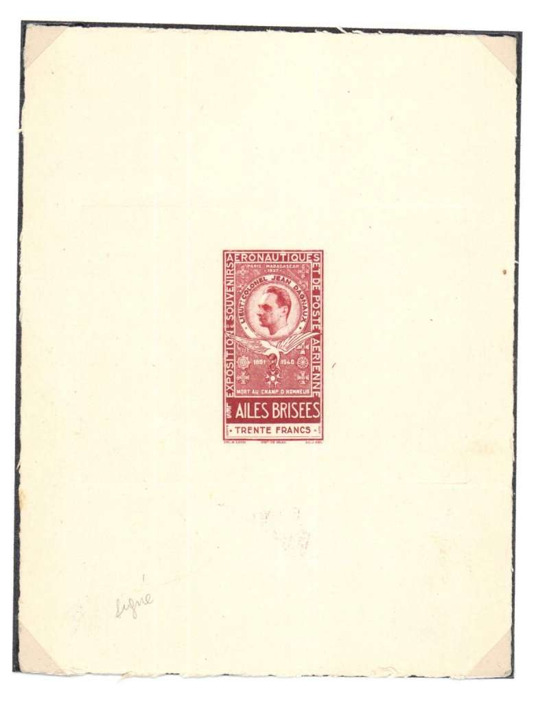 (Ephemera) Proof of label commemorating Jean Dagnaux, 1947, November, Paris Exposition de Souvenirs Aeronautiques de Poste Aerienne.