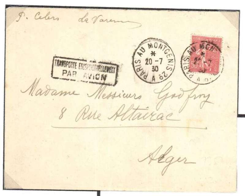 "(France) Early airmail, Paris to Madagascar, plain cover franked 50c at surface rate, nice strike black framed ""Transporte Exceptionellement/Par Avion"". Post Office sent mail franked at surface rate by air when the weight paid for on the aircraft had not been fully utilised. A nice one for the exhibit."