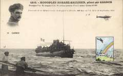(Ephemera) First crossing of the Mediterranean from St. Raphael to Bizerta, 1913, Sep 23, commemorative PPC with inset head and shoulders of M. Garros, and also small square coloured insert showing plane flying over building and rainbow..