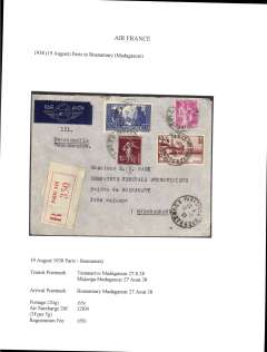 (France) Air France Paris to Madagascar, bs Boanamary 27/8, via Tananarive 27/8 and Majunga 27/8, registered (label) cover correctly franked .65c overseas postage (20g), air surcharge 20F (3f per 5g) and 1F50 registration.