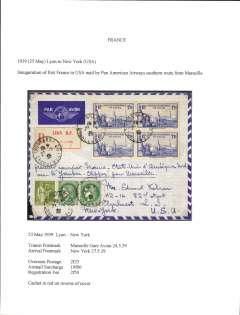 (France) First acceptance of French mail for Pan Am F/F Marseilles-New York, b/s 27/5, registered (label) envelope Lyon to New York via Marseille 24/5, official red flight cachet verso, attractive air cover correctly franked 2F25 overseas postage, 10F airmail surcharge and 2F50 registration fee..