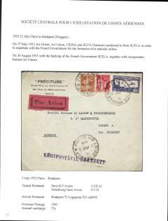 (France) Societe Centrale pour l'Exploitation de Lignes Aeriennes (SCELA), Paris to Budapest, bs 4/7, via Paris RP Avion 3/7 and Strasbourg Gare Avion 4/7, commercial corner cover correctly franked 1F50 overseas postage and 75c airmail surcharge. On 17/5/33 Air Orient, Air Union, CIDNA and SGTA (Farman) combined to form SCELA in order to negotiate with the French Government about the formation of a national airline. On 30/8/33 it was agreed that SCELA and Aeropostale would combine to form Air France. A nice exhibit item - SCELA only existed for 3 1/2 months.