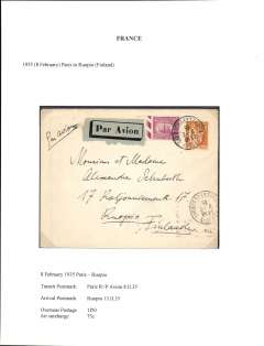 (France) Paris to Ruopio, Finland, bs 13/2, via Paris RP Avion 8/2, airmail etiquette cover correctly franked 1F50 overseas postage and 75c air surcharge, uncommon destination.