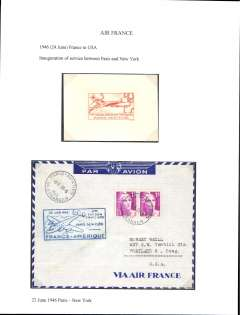 """(France) Air France, F/F Paris to New York, no arrival ds, airmail etiquette cover franked 30F, blue framed flight cachet. Also orange/cream proof of the associated commemorative stamp inscribed """"1ier Laison Aerienne Francaise/Paris-New York""""."""