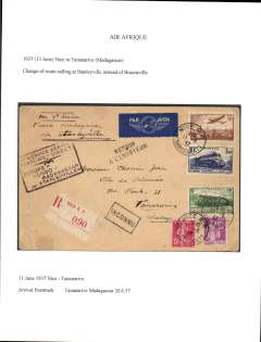 (France) Air France, Air Afrique and Regie Malgache, F/F Nice to Tananarive, bs 20/6, calling at Stanleyville instead of Brazzaville, airmail etiquette cover franked 5F75, black framed flight cachet..